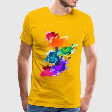Abstract Gay Pride Flag Paint Splash - Men's Premium T-Shirt