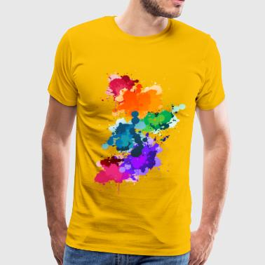 Reds Gay Pride Abstract Gay Pride Flag Paint Splash - Men's Premium T-Shirt