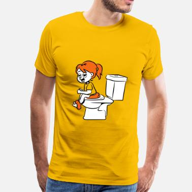 Wc loo wc Sitting little girl - Men's Premium T-Shirt