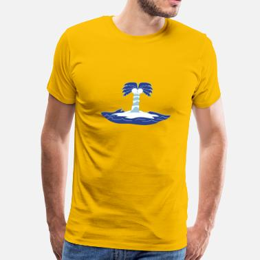 Lonely Island island holiday palm lonely blue coconut sea water  - Men's Premium T-Shirt