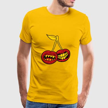 Cre 2 monster cherries horror maul teeth halloween cre - Men's Premium T-Shirt