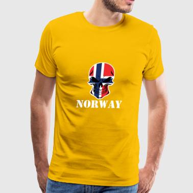 Norwegian Flag Skull Norway - Men's Premium T-Shirt