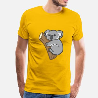 Koala Cartoon funny cartoon koala on a branch - Men's Premium T-Shirt