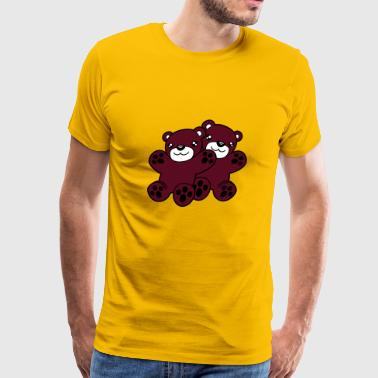 Cartoon Little Brown Bear 2 bears buddies couple cuddle cuddling team love c - Men's Premium T-Shirt