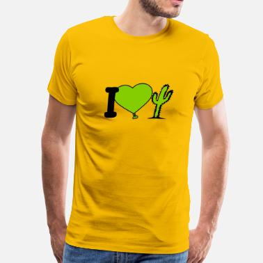 Green Thumb Love i love love heart cactus nature desert gardener pl - Men's Premium T-Shirt