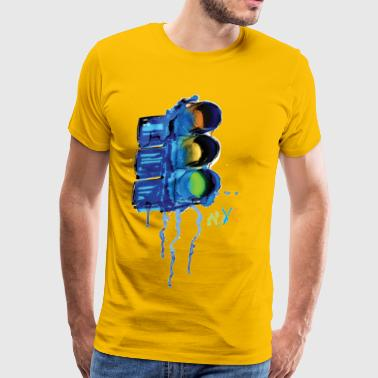 NYC Painted Traffic Light - Men's Premium T-Shirt