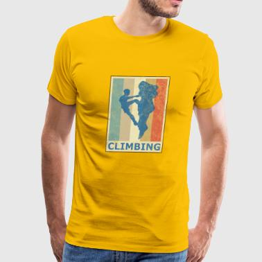 Retro Vintage Style Rock Climbing Climber Mountain - Men's Premium T-Shirt