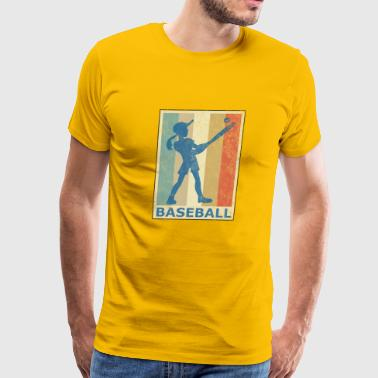 Retro Vintage Style Baseball Softball Player Game - Men's Premium T-Shirt
