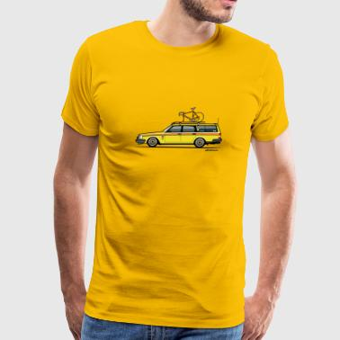 Volvo Yellow Slammed Bike Wagon - Men's Premium T-Shirt