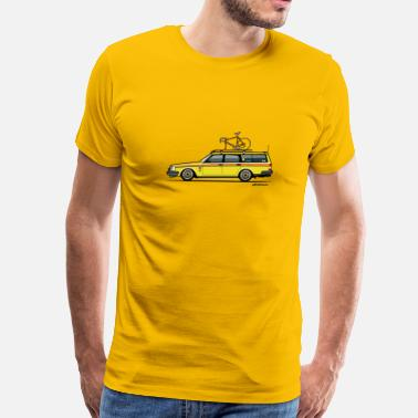 Volvofornia Volvo Yellow Slammed Bike Wagon - Men's Premium T-Shirt