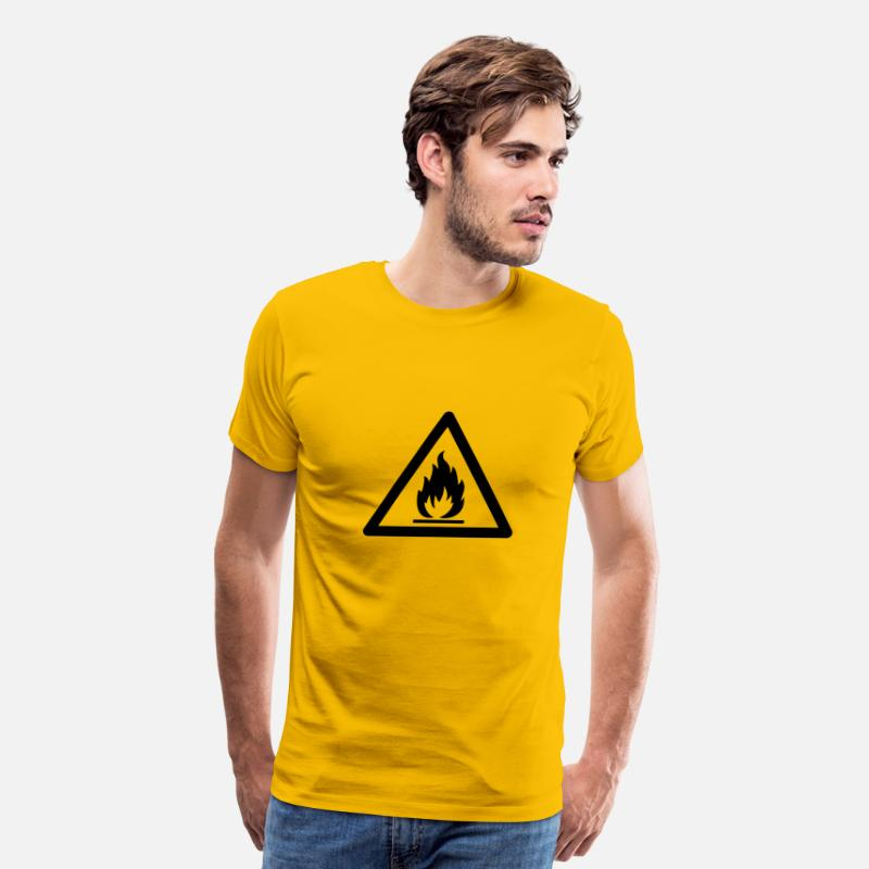 Danger T-Shirts - Hazard Symbol - Flammable Substance - Men's Premium T-Shirt sun yellow