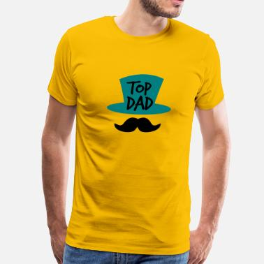 Daddy Moustache TOP DAD with top hat and moustache - Men's Premium T-Shirt