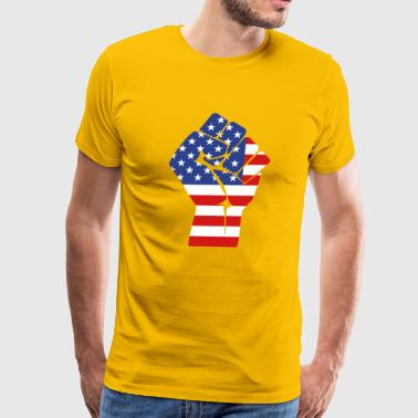 Usa Fists fist with flag of the USA (variable colors!) - Men's Premium T-Shirt