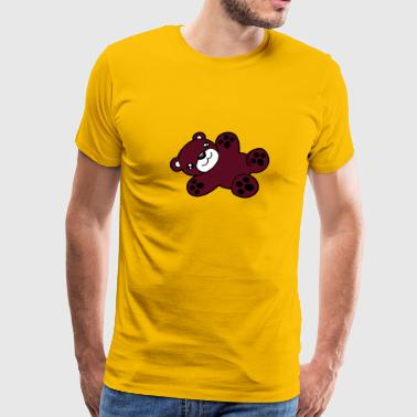 Cartoon Little Brown Bear lying sweet little comic cartoon teddy baby - Men's Premium T-Shirt