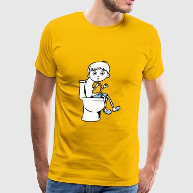 Piss Wc Sitting little boy wc - Men's Premium T-Shirt