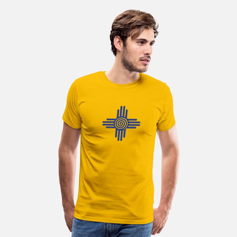 New Mexico T-Shirts - Zia Sun Spiral, Zia Pueblo, New  Mexico, Sun Symbol, SVG,  - Men's Premium T-Shirt sun yellow