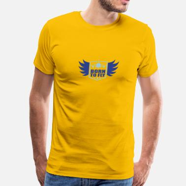 Aviation Pilot Aircraft Flying born to fly logo wing aircraft pilot crest - Men's Premium T-Shirt