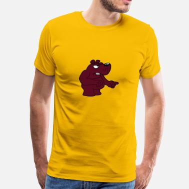 Grim Bear maliciously accuse angry angry bear comic cartoon  - Men's Premium T-Shirt