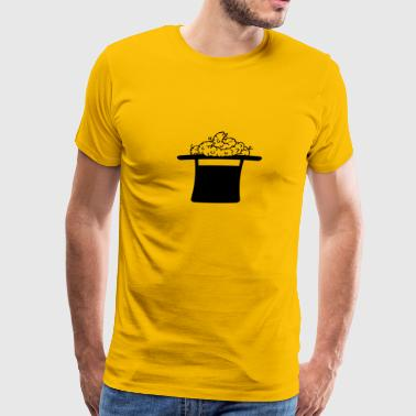Wizard, magic, hat, cylinder, magic, kot, heaps, s - Men's Premium T-Shirt
