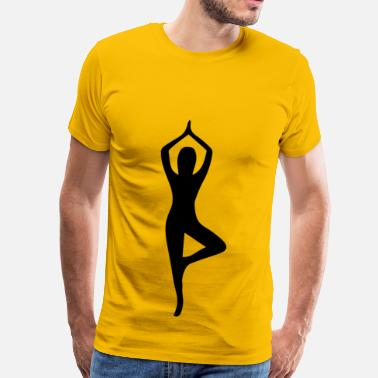 Silhouette Pose Female Yoga Pose Silhouette 15 - Men's Premium T-Shirt