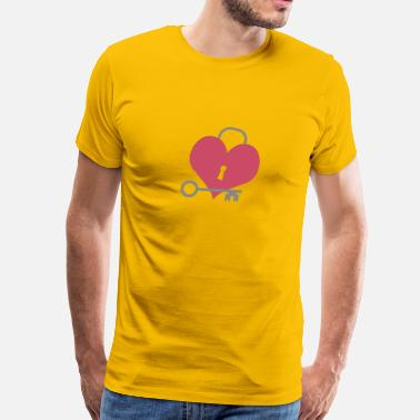Red Lock heart with lock and key - Men's Premium T-Shirt