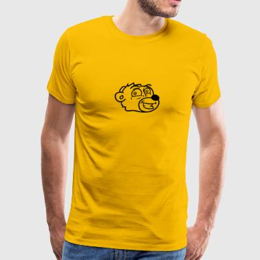 Cartoon Little Brown Bear grin smile comic cartoon head face sweet little cu - Men's Premium T-Shirt