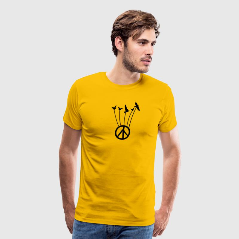 Peace symbol with flying birds  - Men's Premium T-Shirt