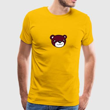 Cartoon Little Brown Bear face head sweet little comic cartoon teddy baby - Men's Premium T-Shirt