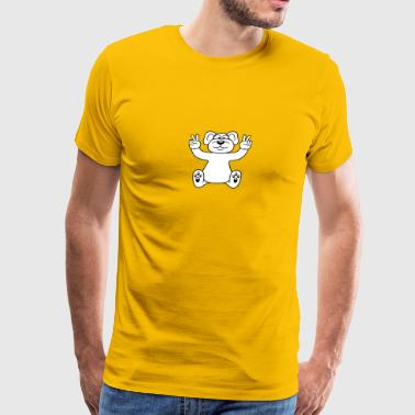 Cartoon Little Brown Bear polar bear peace sign victory funny sitting cute l - Men's Premium T-Shirt