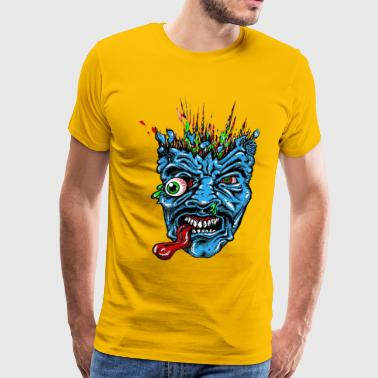 Anger Blue Monster Head Funny - Men's Premium T-Shirt