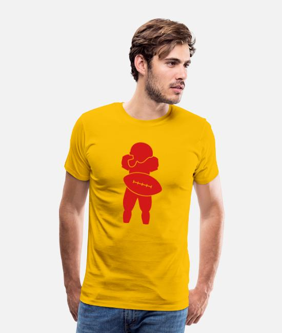 Rugby T-Shirts - All American football uniform with ball and helmet - Men's Premium T-Shirt sun yellow