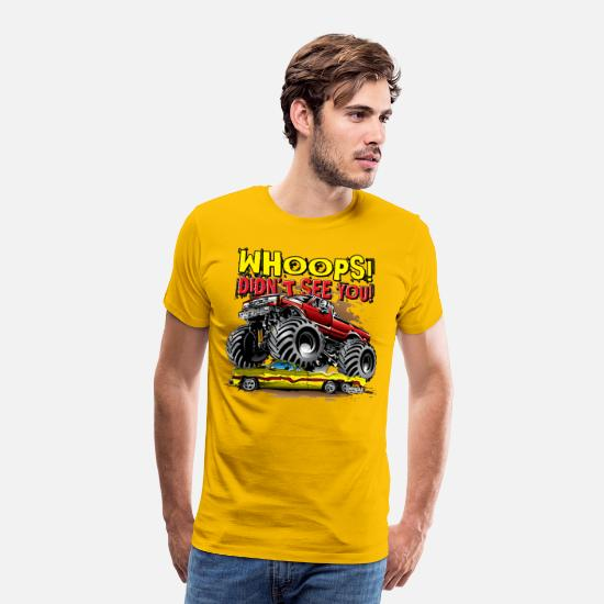 Red T-Shirts - Monster Truck Whoops Red - Men's Premium T-Shirt sun yellow