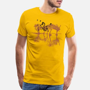 Nature Sketch tree bird nature vector illustration image - Men's Premium T-Shirt