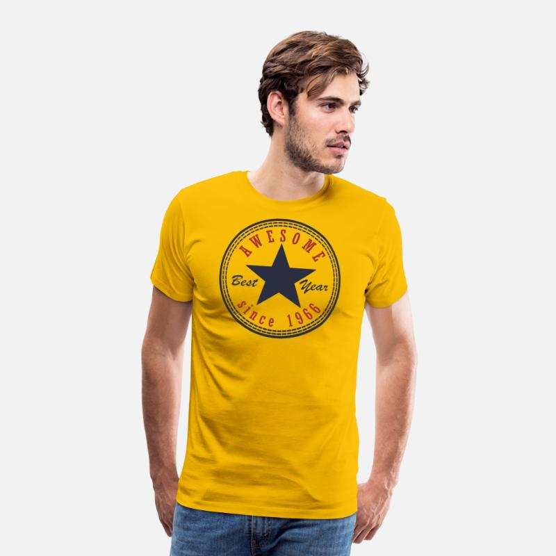 1966 T-Shirts - 51st Birthday Awesome since T Shirt Made in 1966 - Men's Premium T-Shirt sun yellow