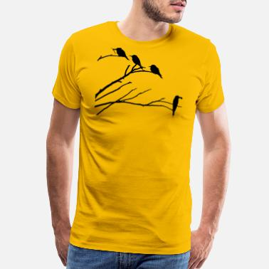 Silhouettes Birds on Tree Silhouette - Men's Premium T-Shirt