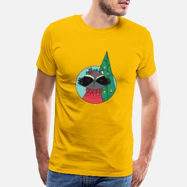 Sloth Cartoon Raccoon zoo animal gift snow - Men's Premium T-Shirt