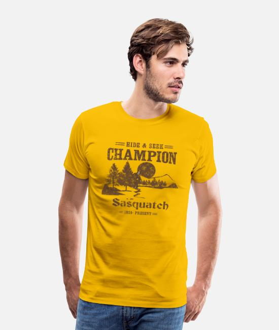 Nature T-Shirts - Hide and Seek Champion. Sasquatch - Men's Premium T-Shirt sun yellow