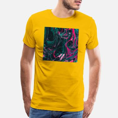 Retro Wave Abstract Paint Mix 18 - Men's Premium T-Shirt