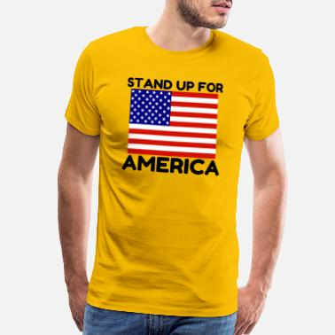 Standing Military Stand Up For America Flag - Men's Premium T-Shirt
