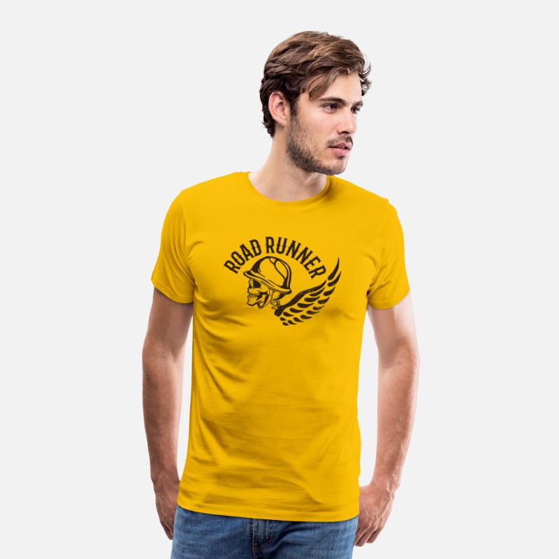 Image T-Shirts - Road runner biker skull tatoo wings inscription - Men's Premium T-Shirt sun yellow