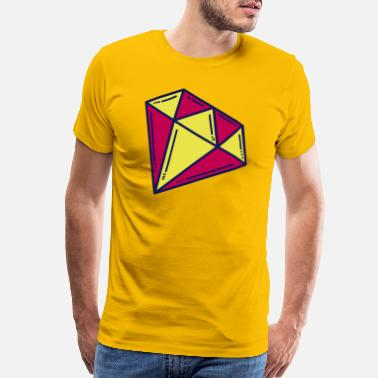 Diamond Ring Diamond Yellow Red, jewel, customize, vector - Men's Premium T-Shirt