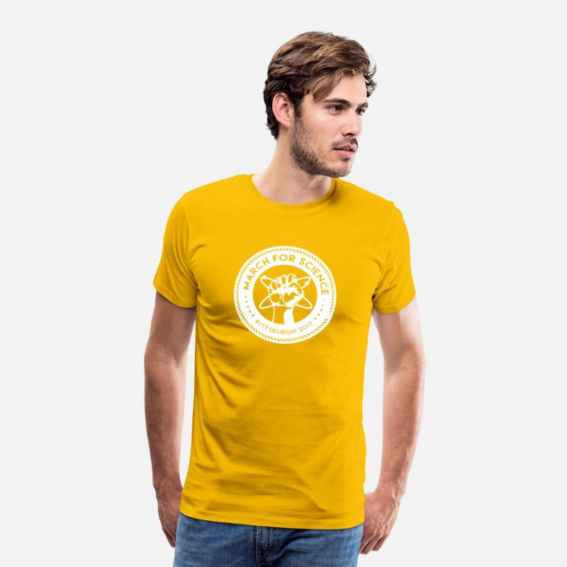 Science T-Shirts - March for Science Pittsburgh Shirt - Men's Premium T-Shirt sun yellow