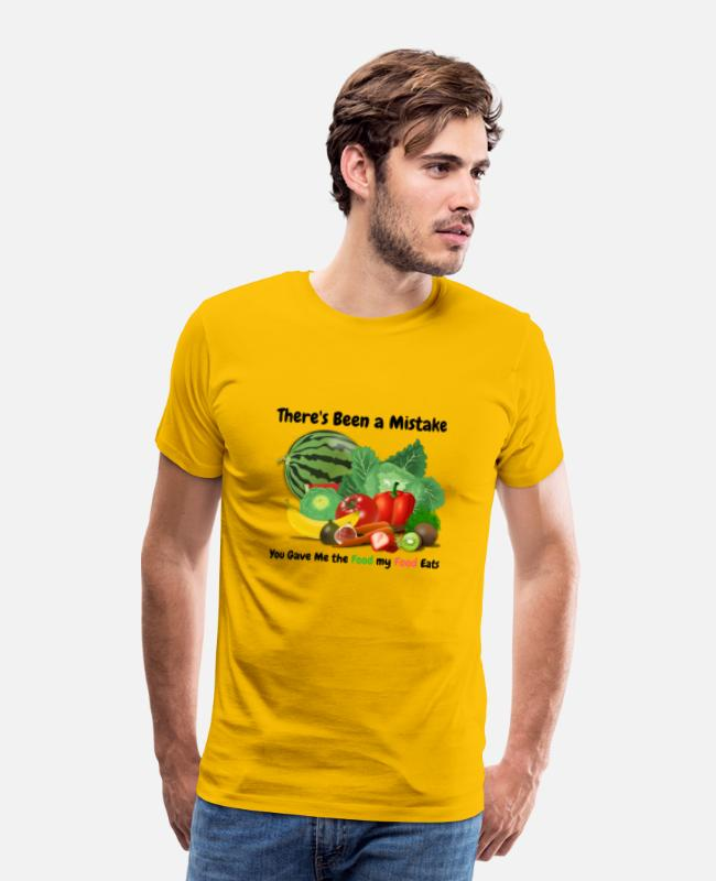 Haha T-Shirts - You Gave me the Food my Food Eats - Men's Premium T-Shirt sun yellow