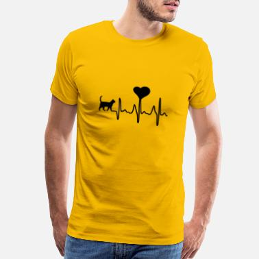 Black Heart Cat Heartbeat Tee - Men's Premium T-Shirt