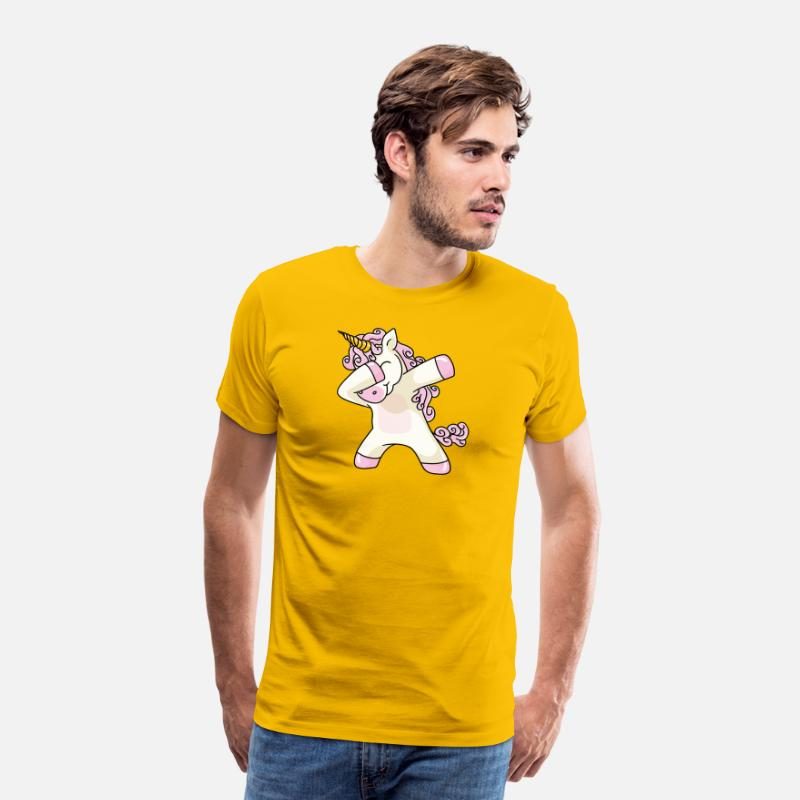 Funny Unicorn T-Shirts - Unicorn Cute Dabbing - Men's Premium T-Shirt sun yellow