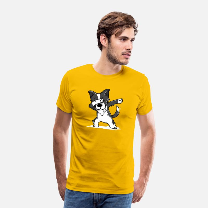 Collie T-Shirts - Funny Border Collie Dabbing Dog Dab Dance - Men's Premium T-Shirt sun yellow