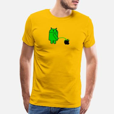 Pees Android Robot Peeing on an Apple Mens Phone War - Men's Premium T-Shirt