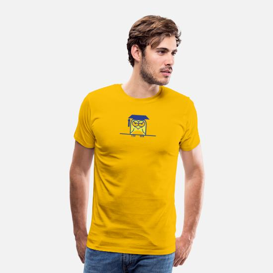 College T-Shirts - An Owl Sitting On A Line. - Men's Premium T-Shirt sun yellow