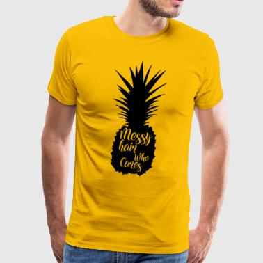 Messy hair who cares, pineapple silhouette - Men's Premium T-Shirt