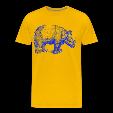 rhinoceros of durer blue illustration animal - Men's Premium T-Shirt